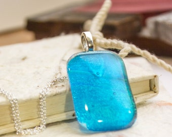 Transparent Sparkly Blue Fused Glass Pendant - Dichroic Aqua Necklace