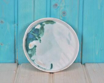 MADE TO ORDER - Ceramic Plate - white turquoise lightblue - modern ceramics - marbled
