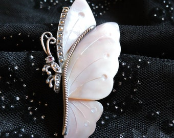 Butterfly Brooch Marcasite and Shell