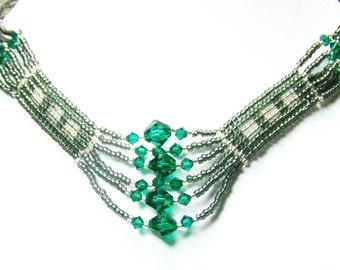 Beadwork Choker Statement Necklace,Handmade Necklace,Beaded Necklace,Beaded Earrings