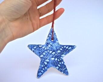 SUMMER SALE - Blue Star Ornament -  Beach / Seaside  - Ready to ship