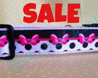 Pink Bow And Black Polka Dot Spotty Dog Collar