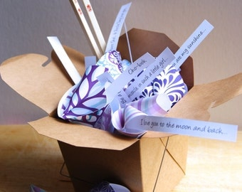 Custom Personalized Paper Origami Fortune Cookies in Takeout Box and Chopsticks with Customized Messages Baby Shower Korean Baek-il