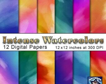 Digital Paper - Intense Watercolors - Instant download - Printable