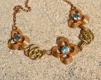 Vintage Natural Blue Zircon Flower Pendant by Walter Lampl  Gold Filled