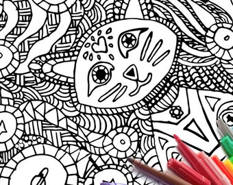 Cat Coloring Page PDF Download Planet Space Stars Moon Sun Hand Drawn Printable Adult Book