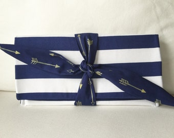 Blue White Srtipe Gold Arrow clutch with Tie front-Ships Immediately