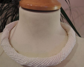 Handmade crochet beaded white linen necklace
