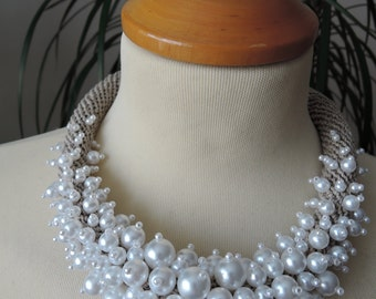 Crochet Linen Beaded Necklace