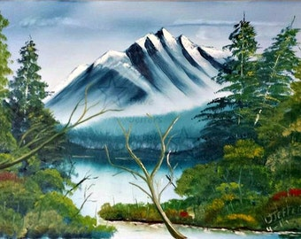 Hand painted work,Mountian painting,  Dave Jeffers Artist, original oil painting, 24X18 oil painting, mountain landscape...Mountain of Valor