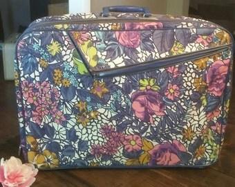 Vintage Mod Floral Suitcase - Vintage Floral Suitcase - Vintage Suitcase - Small Suitcase - Travel Case - Weekend Bag - Cloth Suit Case