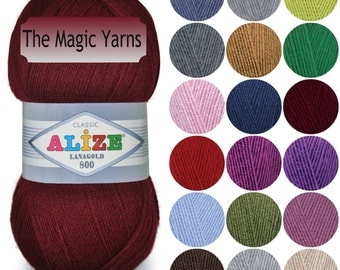 WOOL yarn Alize LANAGOLD 800,wool blend yarn, acrylic yarn, super fINE weight yarn, knitting yarn, winter yarn, crochet winter yarn