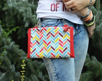 Colorful Fanny Pack, Bum Bag, Utility Bag, Chevron Crossbody Bag, Hip Bag, Festival Waist Bag, birthday gift for friends, Small belt bag