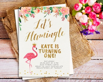 first birthday flamingo invitation, Let's flamingle invitation, Let's flamingle birthday party invitation, pink and gold flamingo invitation