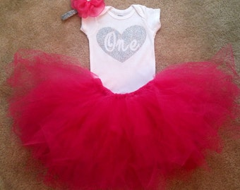 Pink and Silver First Birthday Outfit - First Birthday-Matching Tutu- Matching Headband