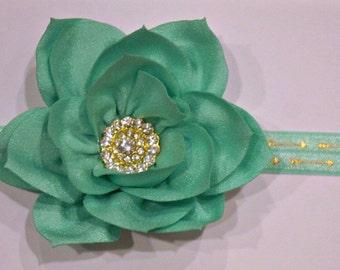 Teal Flower Headband- Teal Flower- Elastic Headband