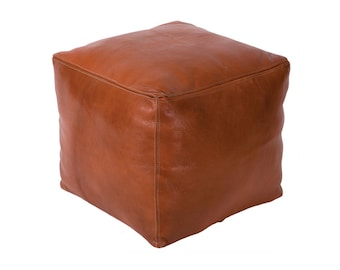 Moroccan Hand-sewn Authentic Tan Leather Cube Pouf