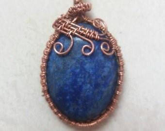 Lapis lazuli copper pendant