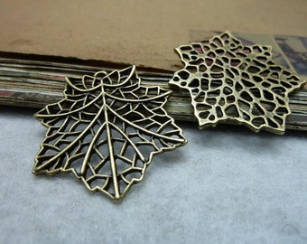 20 Leaf Charms Antique Bronze Tone Maple leaves - WS7931