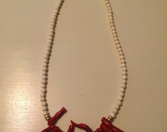 Red coral and wood bead necklace