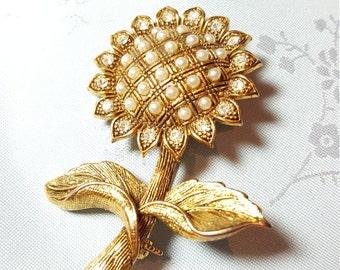 Sunflower Pin Brooch with Rhinestones