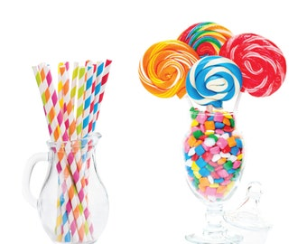 Paper Straws, Sweet Shoppe Assorted Straws, Assorted Striped Paper Straws, Pixie Stix, Candy Theme, Birthday Party, Party Decoration, 25