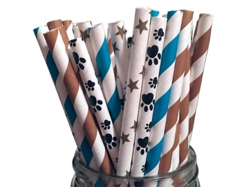Paper Straws, Paw Patrol Paper Straws, Assorted Paper Straws, Paw Patrol Theme, Birthday Party, Paw Patrol, Paw Patrol Party,  25