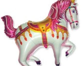 """Circus Horse Balloon, Merry Go Round Horse Balloon,  Party Decoration, Birthday Party, Animal Theme Party, Horse Show, State Fair, Pink, 35"""""""