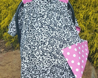 Carseat canopy- carseat cover, baby girl, baby shower gift, pink and black, damask, polka dot, personalize with name