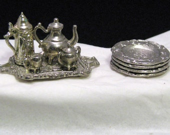 Miniature Formal Tea Set with Snack Plates for Dollhouse Silver Look Shipping