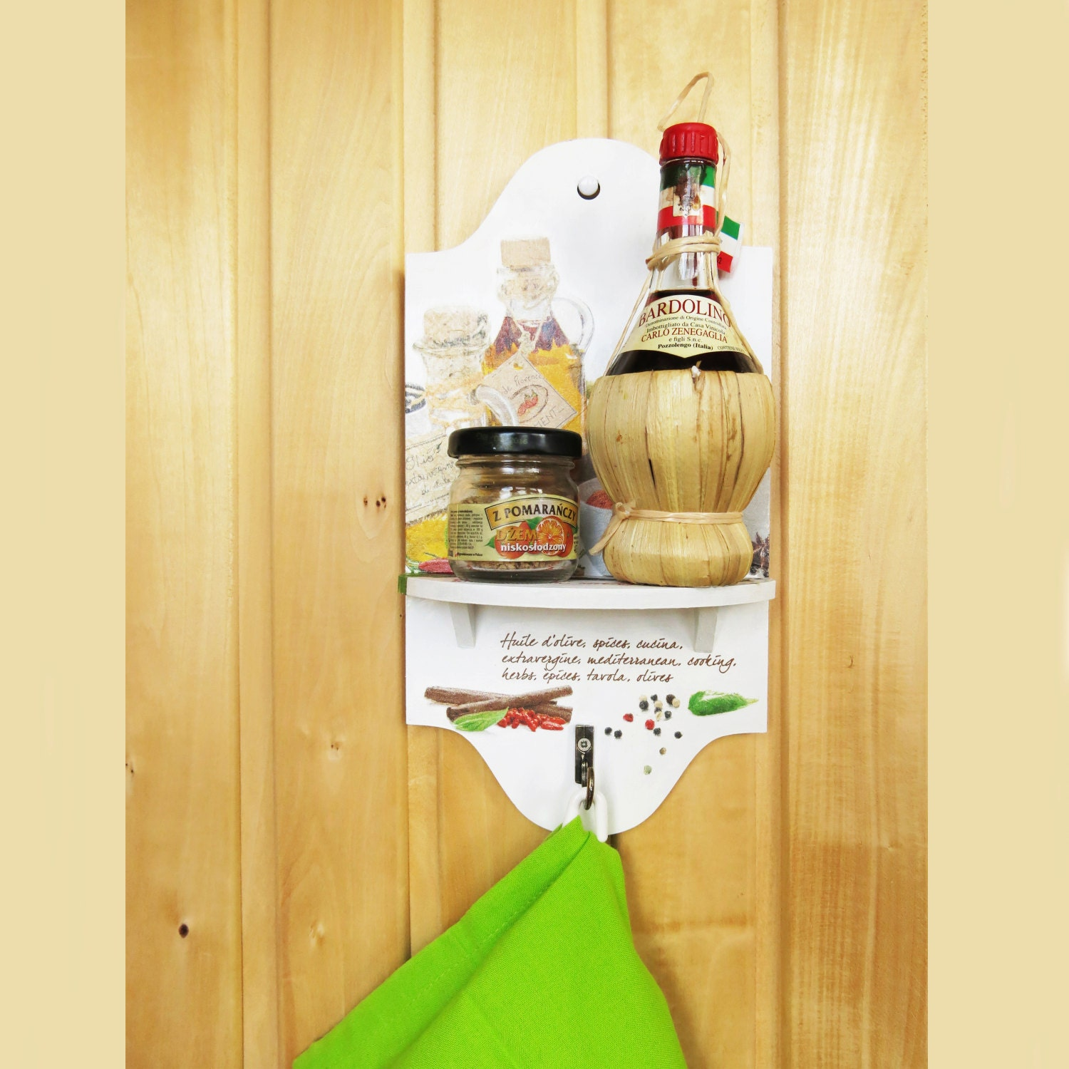 Kitchen Wall Decor Gift For Mom Small Shelf With Hook Handmade