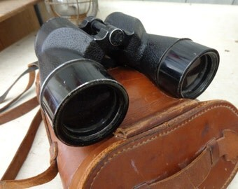 Optical & Film Supply Co 7x50 Binoculars and leather case 1952