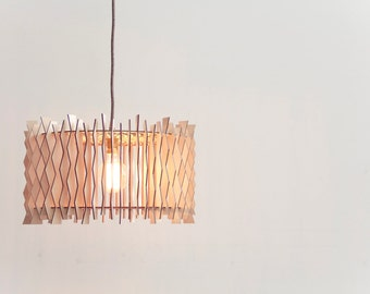 The Staggered DRUM - wooden lampshade / laser cut plywood / kitchen lamp / kitchen lighting / dining room lamp