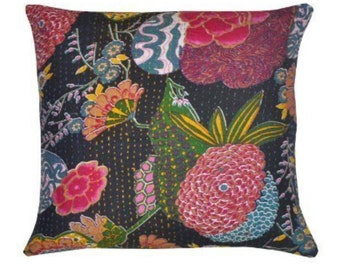 Black Kantha cushion with pad