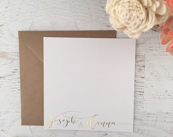 Gold Script Stationery, Personalized Stationary, Calligraphy Style Cards, Personalized Notecard, Gold Stationery, Gold Foil Stationery