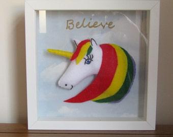 Rainbow unicorn frame.