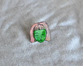 monster girl // shrink plastic pin