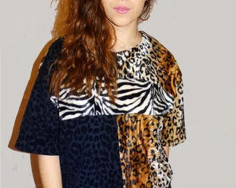 Leopard Print Faux Fur Oversize Unique Crop Top With Mixed Animal Print - One Size