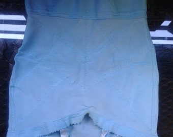 1960s girdle with intact suspenders - hand dyed egg blue/sky blue, size small.
