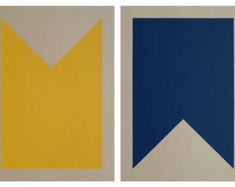 Nautical Signal Flag / Silkscreen Prints                                                                         B-Bravo (Set of Two)