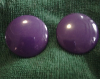Purple Large Button Earrings