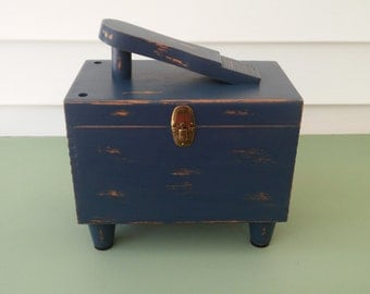 A Vintage 1960's Shoe Shine Valet Chest With Accessories, Up-Cycled In Lonestar Blue