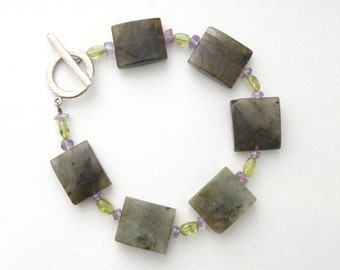 Labradorite Gemstone Bracelet with Peridot/Amethyst/Hammered Pewter Toggle Clasp **CLEARANCE**