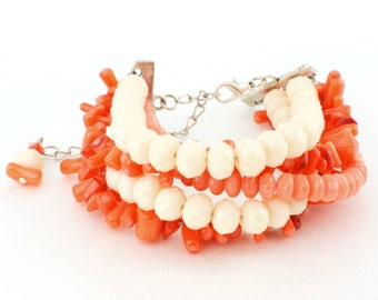 5 Strand Coral and Cream Crystal Bracelet **CLEARANCE SALE**