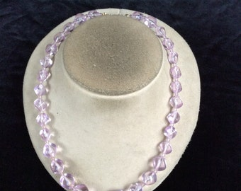 Vintage Graduated Lilac Colored Beaded Necklace