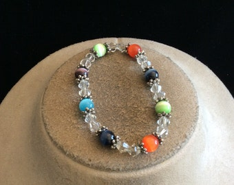 Vintage Clear & Colorful Glass Beaded Bracelet