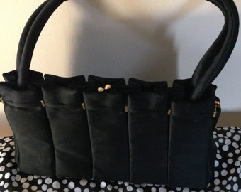Vintage Black Satin Evening Purse with Handles. Just the Right Size for that Special Occasion!