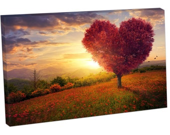 Red heart shaped tree BEAUTIFUL LANDSCAPE Art Print on canvas XT2612