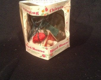 1960s Chirping Birdhouse Ornament