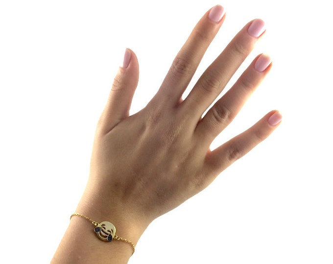 Emoji Bracelet Emoji Jewelry Charm Bracelet Emoji Charm Emoticon Adjustable Bracelet Smiley Face Bracelet 14k Gold Cubic Zirconia